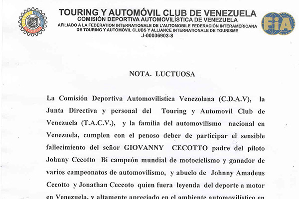 Nota de duelo, Don Giovanni Cecotto, C.D.A.V – T.A.C.V.
